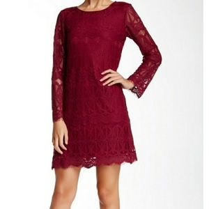 Max Studio Red Flare Garnet Lace Frayed Dress XS
